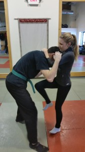 A great example: First day, learning a basic clinch and knee